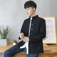 新款复古中国风时尚男士风衣冬季文艺青年修身夹克毛呢大衣外套