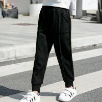 2019 春季新品女童运动裤童装中大男童韩版休闲卫裤 黑色