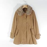 CA0870精品秋冬新款单排扣显瘦好搭配女纯色中长毛呢外套两色