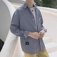 新款2018男士长袖男士个性长袖衬衫港风条纹衬衫男长袖修身帅潮流