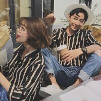 夏季情侣装韩版七分袖衬衫男女潮流时尚中袖衬衣条纹青年休闲寸衫