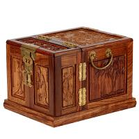 红木首饰盒 实木质结婚饰品盒 花梨木雕刻龙凤收纳盒子