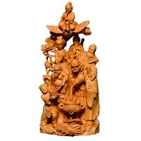 黄杨木雕八仙过海摆件家居实木雕刻博古架玄关装饰品工艺品