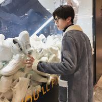 秋冬新款羊羔毛风衣男中长款加绒加厚保暖韩版外套帅气大衣潮