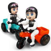 抖音同款电动三轮车音乐灯光卡通小男孩万向儿童翻斗车玩具旋转翻斗小车 官方标配