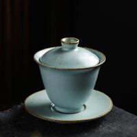 敬茶杯6只汝窑盖碗茶杯 陶瓷泡茶茶碗功夫茶具铁胎手工三才碗套装敬茶茶备 天青盖碗