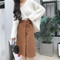复古韩版chic高腰显瘦中长款毛呢包臀裙单排扣系带蝴蝶结半身裙女