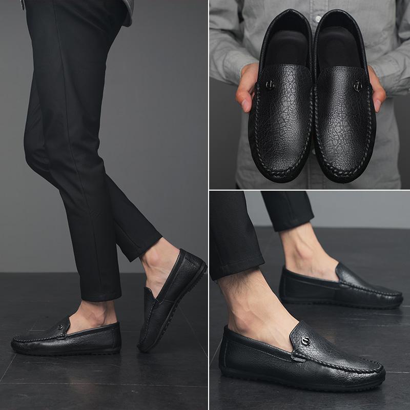 2018新款男鞋百搭男士休闲鞋软底豆豆鞋舒适驾车鞋一脚蹬套脚鞋子