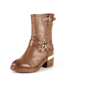 【星期六集团大牌日】Safiya/索菲娅冬款牛皮圆头金属粗高跟短靴女鞋SF54117338