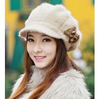秋冬季时尚帽子保 暖兔毛帽针织毛线帽 女 韩版 潮鸭舌贝雷帽