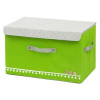优芬彩色扣扣收纳箱日式收纳盒无纺布储物箱带盖收纳箱 加厚衣物收纳 整理箱收纳盒 单个大号绿色