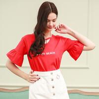 夏装新品圆领镂空套头荷叶袖印花短袖T恤女D728754Z20