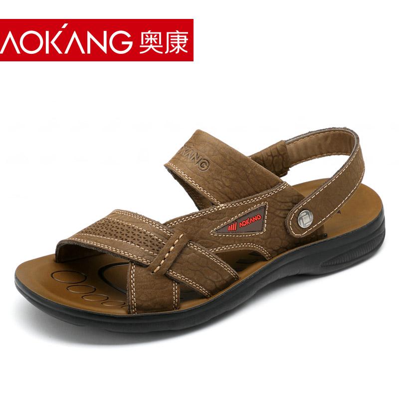 奥康男凉鞋 夏季男鞋男士休闲鞋 真皮凉鞋沙滩鞋防滑男士凉拖鞋潮