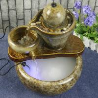 陶瓷流水喷泉摆件 家居装饰品 细水长流石磨 流水喷泉加湿器 赠雾化器