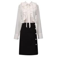 韩版重工珍珠钉珠荷叶边雪纺上衣配裙子两件套高腰半身裙套装春款 白+黑【两件套】