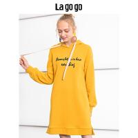 Lagogo2019秋新款女装连帽长袖卫衣连衣裙宽松休闲中裙HCLL418A35