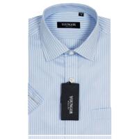 YOUNGOR雅戈尔蓝色条纹高支全棉免烫短袖衬衫STP19123-23