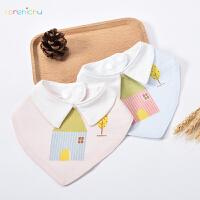 人之初夏季薄款婴幼儿宝宝防水口水巾儿童三角巾透气双层按扣围嘴0-3岁