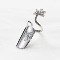 女士指甲套个性开口手工戒指 指环指甲套饰品情人节礼物 银白