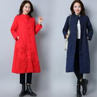 冬季女装新款民族风植绒加厚夹棉长款外套中国风长款棉衣棉袄