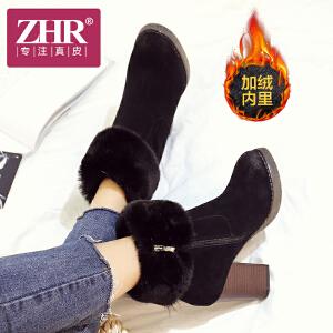 ZHR2017冬季新款韩版切尔西靴毛毛小短靴粗跟复古冬靴高跟女靴子K57