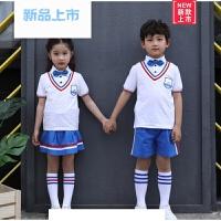 小学生校服夏装套装短袖新款儿童纯棉蓝白演出服龙宝宝男女童运动