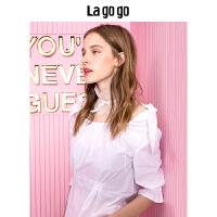 Lagogo拉谷谷2019年秋夏季新款时尚一字领上衣甜美白色T恤女HCSS437Q14