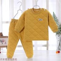 冬季宝宝保暖内衣套装三层加丝棉内里儿童夹棉加厚0婴儿保暖1-3岁秋冬新款