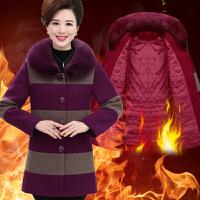 妈妈装老人中老年人女装秋冬装毛呢外套中长款宽松加肥加大码大衣