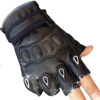 战术半指手套男 防水透气时尚流行骑行防晒户外运动山地车仿皮健身手套 黑色