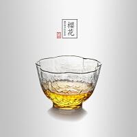 当当优品 描金樱花锤目纹品茗杯 光阴系列 手工高硼硅玻璃茶杯 功夫茶具 70ml