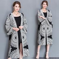 春夏大码女装新款复古中国风刺绣宽松大码外套系带棉披肩开衫