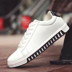 2017年春季新款男鞋 韩版潮鞋低帮男板鞋纯色百搭男士休闲鞋单鞋学生系带小白鞋61102JQ支持