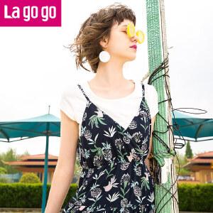 【清仓3折价99.9】Lagogo拉谷谷2019夏季新款印花短袖吊带连衣裙两件套GALL804C25