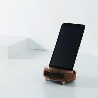 生日礼物女生实用定制商务礼品 创意手机原木物理音响 褐色 胡桃木