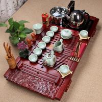 汝窑陶瓷冰裂功夫茶具套装四合一电磁炉整套祥云木质茶盘套餐 22件