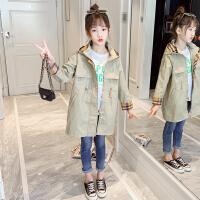 木木屋女童风衣外套2021新款中长款春夏装韩版洋气儿童中大童风衣潮