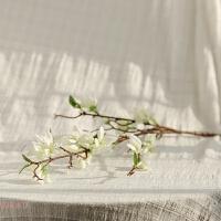 假花仿真花束单支客厅室内餐桌装饰品花艺花瓶插花 三台迎春花 三台迎春花 - 白色