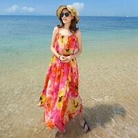 夏新款女装波西米亚长裙沙滩裙海边显瘦露肩修身雪纺连衣裙子 收藏送【沙滩巾+头花】