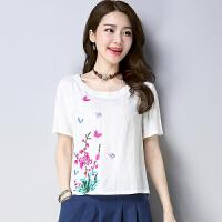 夏季新款民族风女上衣复古文艺中国风宽松传统刺绣短袖T恤衫