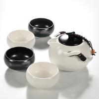 定窑陶瓷茶壶快客杯一壶四杯户外旅游功夫茶具便携包旅行茶杯套装礼品 5件 白黑定一壶四杯