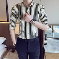 男士衬衣夏季2018新款潮男短袖修身潮流发型师七分袖衬衫帅气