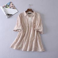 大码女装胖MM200斤纯色半袖棉质衬衫中长假两件打底衫