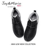 jm快乐玛丽加厚冬季懒人鞋女冬黑色一脚蹬平底保暖加绒棉鞋