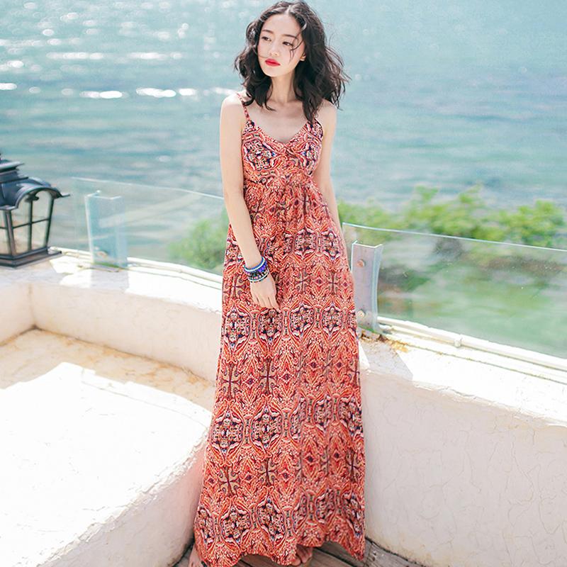 夏季新款女装吊带裙子修身无袖连衣裙波西米亚长裙海边度假沙滩裙 图片色 XZA244 发货周期:一般在付款后2-90天左右发货,具体发货时间请以与客服协商的时间为准