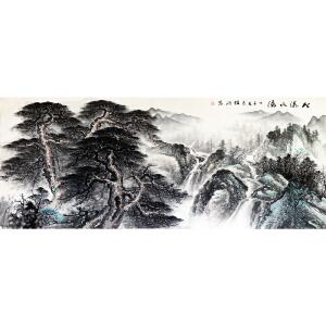 李锦鸿《松涛水潺》著名画家 有作者本人授权 2.4米巨幅