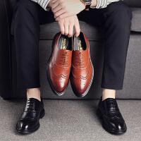 宜驰 EGCHI 商务休闲男士耐磨时尚布洛克皮鞋子男 K7881