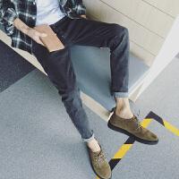2017韩版新款男士复古做旧牛仔裤小清新锥形裤男装潮流小脚长裤子