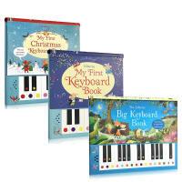 儿童英文原版 Usborne Big Keyboard Book 3本可以弹的钢琴书 大键盘 儿童音乐书 发声书 锻炼