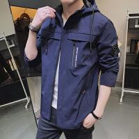 外套男春秋潮流韩版学生宽松夹克衫男生新款长袖带帽子茄克上衣服